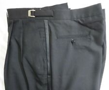 30 - 32 Adjustable Waist Mens Black Wool Traditional Tuxedo Pants Prom Wedding