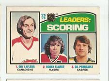 1976-77 OPC #3 SCORING LEADERS GUY LAFLEUR CLARKE PERREAULT CANADIENS O-PEE-CHEE