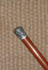 Antique Hallmarked Repousse Silver Top London 1888 Malacca Walking Stick 93cm