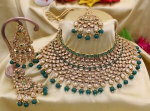 Indian Fashion Kundan Pearl Bollywood Gold Plated Ethnic Beads Jewelry Necklace