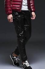 Unisex shiny soft nylon wetlook down pants trousers bottoms britches sport warm
