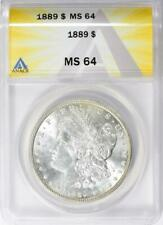 1889 Morgan Silver Dollar - ANACS MS-64 - Mint State 64