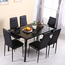 Black Glass Gloss Dinning Table and 4 Faux Leather Chairs Set Kitchen Furniture