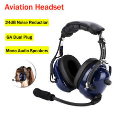 Aviation Headset Pilot Headphone Mic 24dB Noise Reduction for Universal Radio