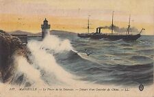 CF49.Vintage Postcard. Desirade Lighthouse.Courier leaving for China. Marseille.