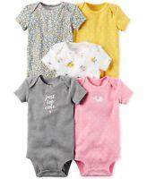 Carter's Baby Girls 5-Pack Short Sleeve Original Bodysuits Set New