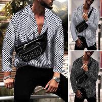 Men's Dot Print Summer Shirts Long Sleeve Hippy Casual Loose Party Dress Shirts