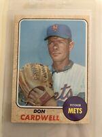 1968 Topps #437 Don Cardwell - New York Mets - Original Baseball Card - EX/MT+