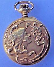 ANTIQUE ART NOUVEAU BEAUTY GOLD PLATED POCKET WATCH GAVOUR A.E.W CO