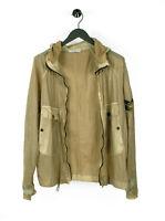 Genuine Stone Island Thin Spalmature Hooded Light Khaki Men Jacket in size XL