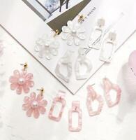 Fashion Flower Acrylic Resin Sweet Ear Stud Women Dangle Earring Jewelry Gift