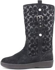 COACH Black Suede Signature Tullip Boots Size 11 NIB