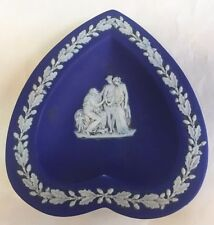 ANTIQUE WEDGWOOD JASPERWARE ROYAL BLUE HEART SHAPE DISH TRINKET PIN