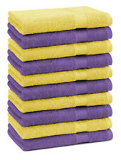 Lot de 10 serviettes débarbouillettes Premium couleur: lila & jaune