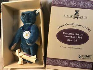 Steiff Club Edition 1994 Blau/Blue 35 White tag Bear. Mohair fir with Excelsior