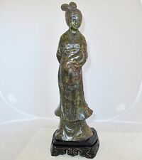 """14"""" Vintage Chinese Hand Carved Green Serpentine / Hard Stone Kwan-Yin or Woman"""