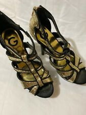 GUESS Black / Gold Sparkle Heels Pumps CUTE Holiday Perfection! Size 5.5 GUC