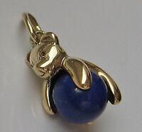 Nice ☆ Teddy Bär in aus 14kt 585 Gold Anhänger mit Lapis Lazuli Bärchen ☆ 6683