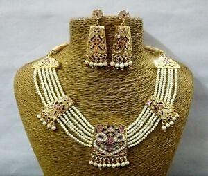 Indian Hyderabadi Pearls Necklace Gold Plated Jadau CZ Rani Haar Wedding Jewelry