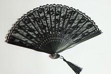 Cosfee Gothic Fächer Fan Spitze schwarz viktorianisch Romantisch lace Bambus WGT