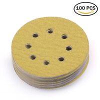 5'' 60 Grit Sanding Discs Random Orbital Sander paper Hook and Loop Pad 8 Holes