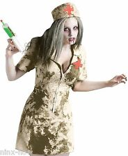 Walking Dead Zombie Dirty Nurse + Syringe womens fancy dress costume  fits 6-10