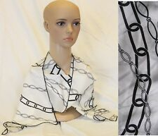 100% Luxury Silk Long Black White Chain pattern Scarf Made in ITALY