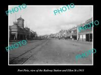 OLD LARGE HISTORIC PHOTO OF PORT PIRIE SA, VIEW OF ELLEN St & RAIL STATION c1915