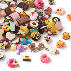 100pc Mixed Resin Cute Cake Pendants Colorful Mini Dangle Charms Craft 16~27.5mm