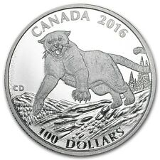 2016 Canada $100 for $100 Cougar 1 oz Fine Silver Coin