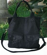 Fossil Black Leather Modern Cargo Convertible Tote Shoulder Crossbody ZB4524