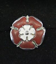 Vintage Signed Fattorini Brown and pink Flower Brooch Pin