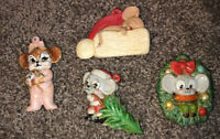 Vintage From 1979 Hand Painted Ceramic Mouse Mice Christmas Ornament Set of 4