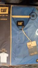CAT Caterpillar Travail Polo T Shirt à manches courtes 100% coton bleu moyen