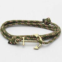 Adjustable Anchor Charm Rope Bracelet Nautical String Navy Unisex Jewellery Gift