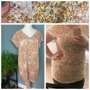 Next 16 - Long Tunic Top Floral Yellow Orange Blue Print Pattern Mini Dress