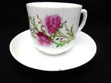 Antique Mustache Cup & Saucer Ribbed w Hand Painted Pink Wildflowers