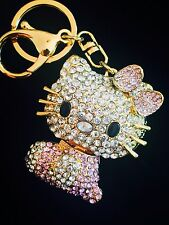 Hello Kitty Keychain Austrian Crystal Charming Small Christmas Gift Cat Pink