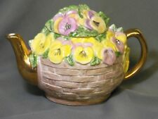 unique hand crafted * Flower Basket * TEA POT with beautiful colorful details