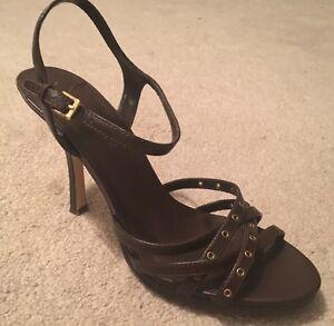 Women's Brown Studded Heels Sandals Pumps Shoes. Size 7.5