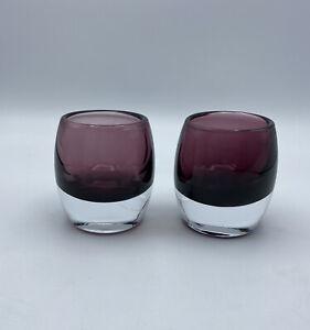 CRATE & BARREL Diva Votive Amethyst Purple Candle Holder Set of 2 Poland Glass