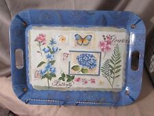 """Blue floral tray, 21"""" X 15"""", handles, melamine, made in italy"""