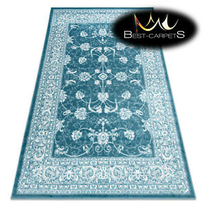 Modern Designer cheap Rug 'MEFE' ornament, structural CREAM / BLUE Best carpet
