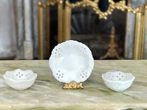 Vintage Miniature Dollhouse Artisan Porcelain Lace Plate & Two Bowls Delicate