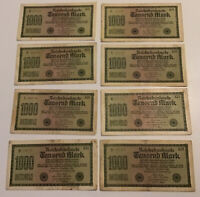 Lot Of 8 X German Banknotes. 1000 Mark. Dated 1922. Vintage Set.