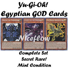 Yugioh All 3 Egyptian God Cards Set Ra Obelisk Slifer TN19 Prismatic Secret Rare