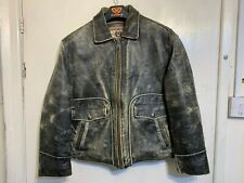 VINTAGE 70's RED TIPS LEATHER MOTORCYCLE AVIATOR JACKET SIZE M ++ XL ACE PATINA