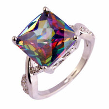 925 Sterling Silver Square Rainbow Mystical Topaz + White Topaz Ring Size: 10