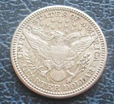 1907 USA Barber Silver Quarter Dollar - AU - Semi-Lustrous