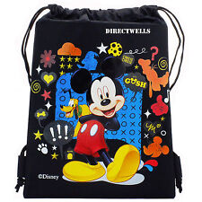 22df1271d29 Free shipping. Disney Mickey Mouse Black Drawstring Bag School Backpack